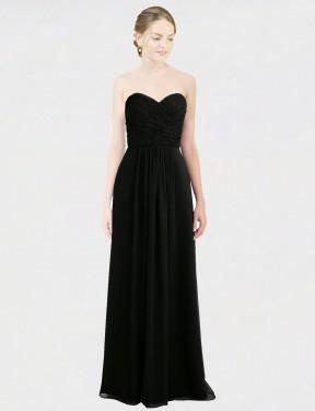 Shop Black A-Line Long Amaris Bridesmaid Dress Canada