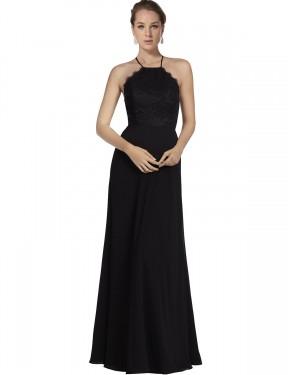 Shop Black A-Line Long Kinslee Bridesmaid Dress Canada