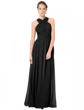 Shop Black A-Line Long Madelyn Bridesmaid Dress Canada