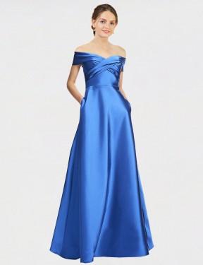 Shop Blue A-Line Long Elyssa Bridesmaid Dress Canada