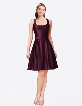 Shop Bordeaux A-Line Short Nia Bridesmaid Dress Canada