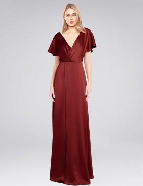Shop Burgundy A-Line Long Acosta Bridesmaid Dress Canada