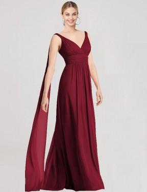 Shop Burgundy A-Line Long Adephe Bridesmaid Dress Canada