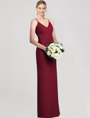 Shop Burgundy A-Line Long Breda Bridesmaid Dress Canada