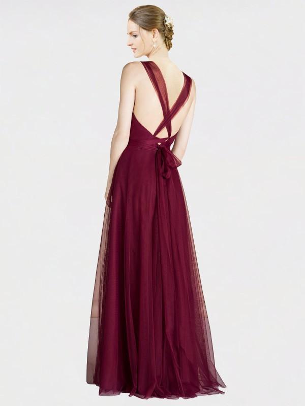 Shop Burgundy A-Line Long Claudia Bridesmaid Dress Canada