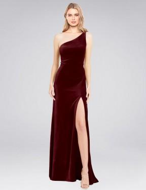 Shop Burgundy A-Line Long Daniel Bridesmaid Dress Canada