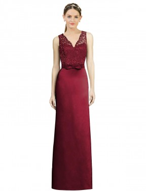 Shop Burgundy A-Line Long Daniella Bridesmaid Dress Canada