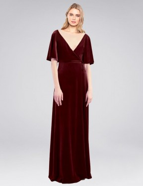 Shop Burgundy A-Line Long Dreher Bridesmaid Dress Canada