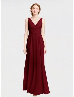Shop Burgundy A-Line Long Elsa Bridesmaid Dress Canada