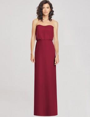 Shop Burgundy A-Line Long Feven Bridesmaid Dress Canada