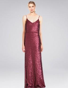 Shop Burgundy A-Line Long Hill Bridesmaid Dress Canada