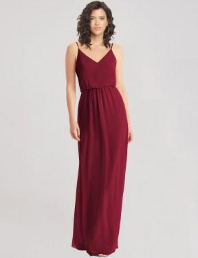 Shop Burgundy A-Line Long India Bridesmaid Dress Canada