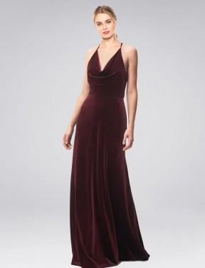 Shop Burgundy A-Line Long Kwete Bridesmaid Dress Canada