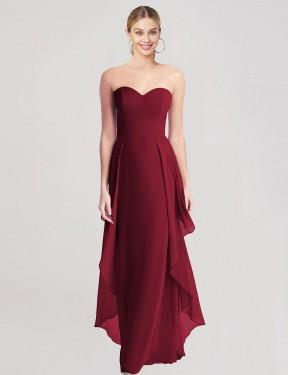 Shop Burgundy A-Line Long Leidy Bridesmaid Dress Canada