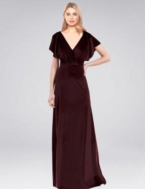 Shop Burgundy A-Line Long Pinto Bridesmaid Dress Canada