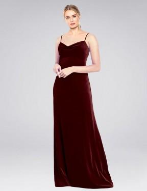 Shop Burgundy A-Line Long Saliba Bridesmaid Dress Canada