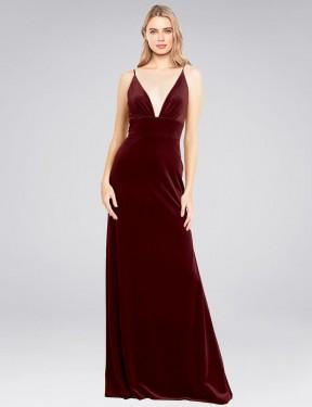 Shop Burgundy A-Line Long Sammi Bridesmaid Dress Canada