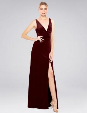 Shop Burgundy A-Line Long Scotti Bridesmaid Dress Canada