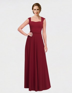Shop Burgundy A-Line Long Selene Bridesmaid Dress Canada