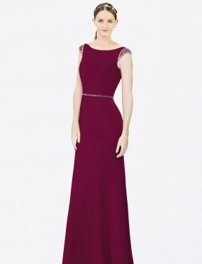 Shop Burgundy A-Line Long Zoie Bridesmaid Dress Canada