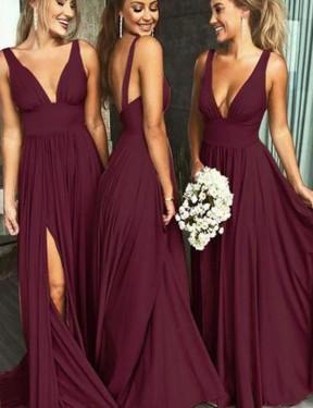 Shop Burgundy Gold A-Line Long Caylee Bridesmaid Dress Canada