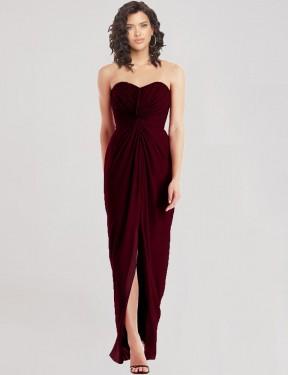Shop Burgundy Gold A-Line Long Ken Bridesmaid Dress Canada