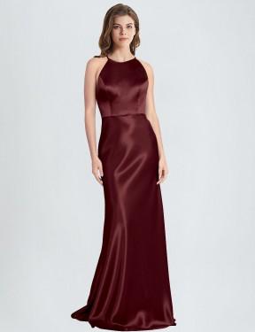 Shop Burgundy Gold Sheath Long Polin Bridesmaid Dress Canada
