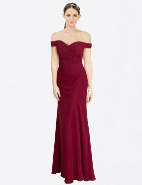Shop Burgundy Mermaid Fit and Flare Long Carolyn Bridesmaid Dress Canada