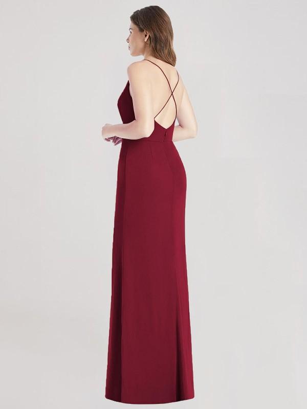 Shop Burgundy Mermaid Long Sue Bridesmaid Dress Canada
