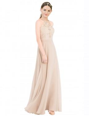 Shop Champagne A-Line Long Lailah Bridesmaid Dress Canada