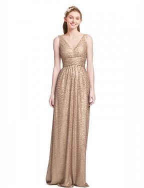 Shop Champagne A-Line Long Marissa Bridesmaid Dress Canada