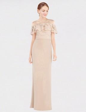 Shop Champagne A-Line Long Perla Bridesmaid Dress Canada