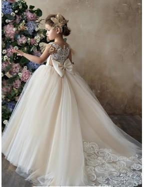 Shop Champagne Ball Gown Long Flower Girl Dress Canada