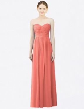 Shop Coral A-Line Long Jada Bridesmaid Dress Canada