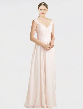 Shop Cream Pink A-Line Long Arely Bridesmaid Dress Canada