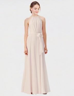 Shop Cream Pink A-Line Long Kendal Bridesmaid Dress Canada