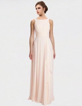 Shop Cream Pink A-Line Long Lennox Bridesmaid Dress Canada