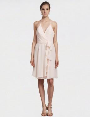 Shop Cream Pink A-Line Short Clarissa Bridesmaid Dress Canada