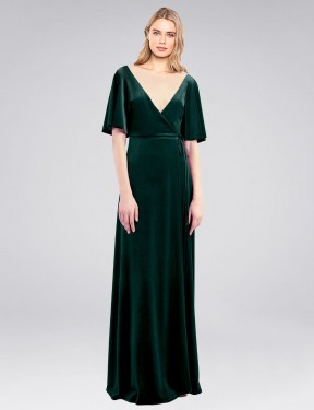 Shop Dark Green A-Line Long Dreher Bridesmaid Dress Canada