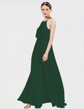 Shop Dark Green A-Line Long Elahe Bridesmaid Dress Canada