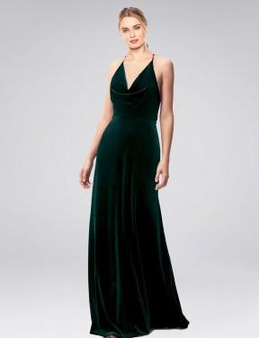 Shop Dark Green A-Line Long Kwete Bridesmaid Dress Canada