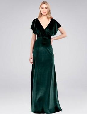Shop Dark Green A-Line Long Pinto Bridesmaid Dress Canada