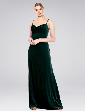 Shop Dark Green A-Line Long Saliba Bridesmaid Dress Canada