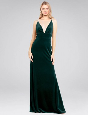 Shop Dark Green A-Line Long Sammi Bridesmaid Dress Canada
