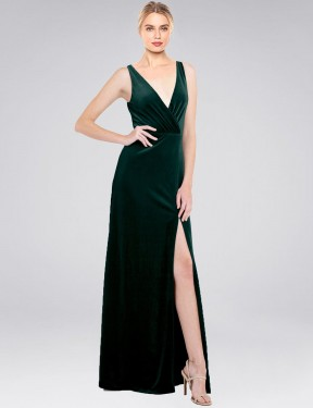 Shop Dark Green A-Line Long Scotti Bridesmaid Dress Canada
