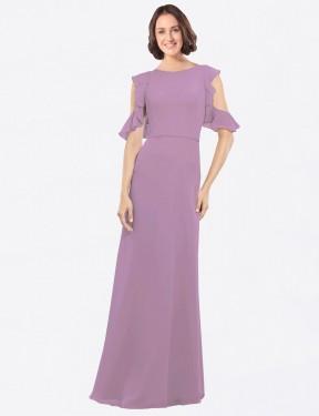 Shop Dark Lavender A-Line Long Adalynn Bridesmaid Dress Canada
