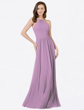 Shop Dark Lavender A-Line Long Anum Bridesmaid Dress Canada