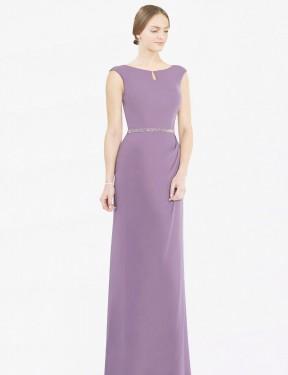 Shop Dark Lavender A-Line Long Cherry Bridesmaid Dress Canada
