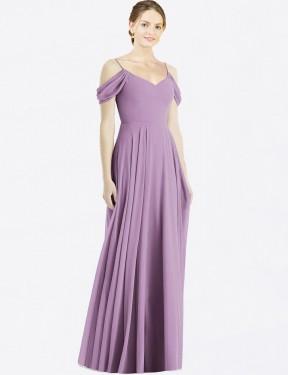 Shop Dark Lavender A-Line Long Dulce Bridesmaid Dress Canada