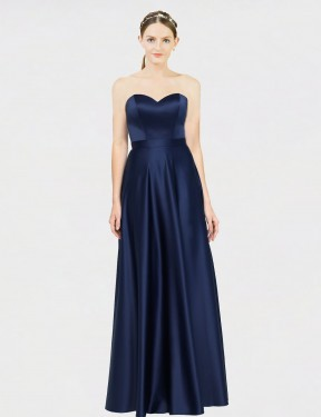 Shop Dark Navy A-Line Long Adrienne Bridesmaid Dress Canada